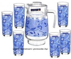 PLENITUDE BLUE стаканы + кувшин-7 предметов