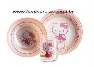HELLO KITTY NORDIC FLOWER ROSE детский набор 3 предмета